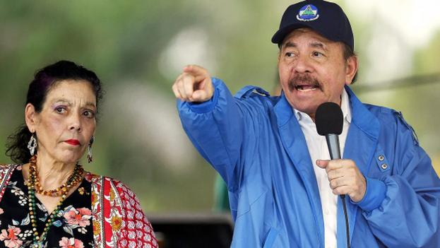 Daniel Ortega junto a su esposa y vicepresidenta Rosario Murillo. (EFE)