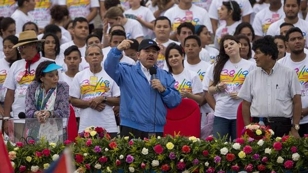 Daniel Ortega, presidente de Nicaragua, durante un acto popular. (Twitter)