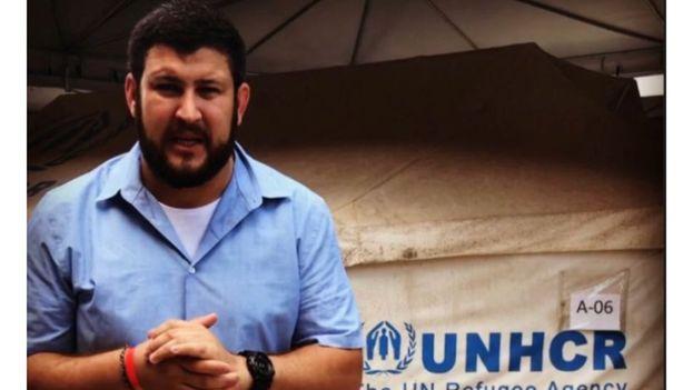 David Smolansky en uno de los campamentos que ACNUR ha instalado en la frontera brasileña para acoger a los venezolanos que abandonan el país. (NTN24)