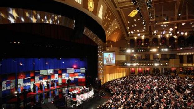 Debate del martes 10 de noviembre entre los aspirantes a candidato a la presidencia por el partido republicano. (@TelemundiNews)