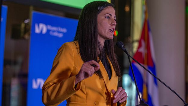 Rosa María Payá, coordinadora de Cuba Decide, en el evento Pasos de Cambio en Miami. (EFE)