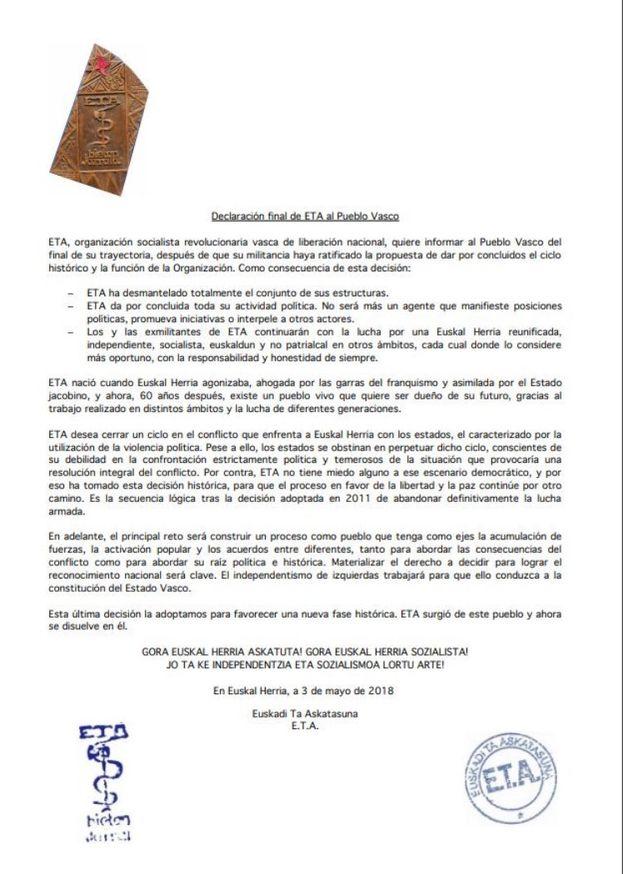 """Declaración de ETA del fin de su """"trayectoria"""". (Gara)"""