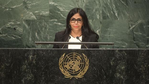 La canciller venezolana, Delcy Rodríguez, el pasado mes de septiembre en la sede de Naciones Unidas. (UN Photo/Cia Pak)