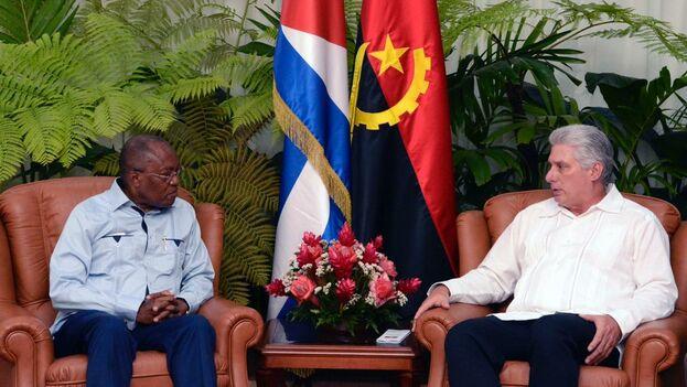 """Díaz-Canel y el ministro angoleño manifestaron """"la voluntad mutua de fortalecer los vínculos políticos, económico-comerciales y de cooperación"""". (@DiazCanelB)"""