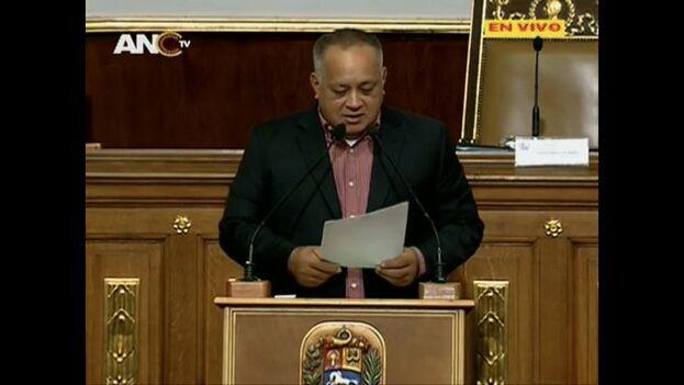 Diosdado Cabello anuncia la retirada del fuero parlamentario a Juan Guaidó en la Asamblea Nacional Constituyente.