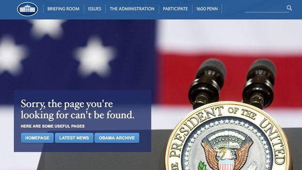 """""""Disculpa, la página que estás buscando no puede encontrarse"""", es el mensaje con que se topan ahora los internautas que intentan acceder a la página www.whitehouse.gov/espanol."""