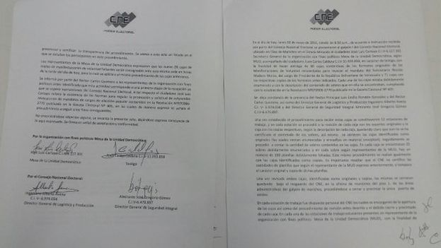 Documento de recepción de las firmas para el revocatorio de Nicolás Maduro. (@RevocaloYa)