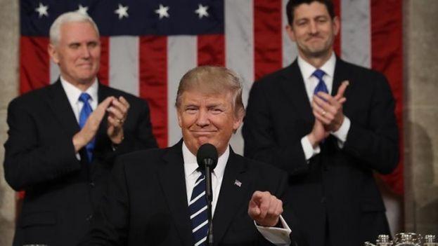 Donald J. Trump se dirige a la Sesión Conjunta del Congreso. (EFE)