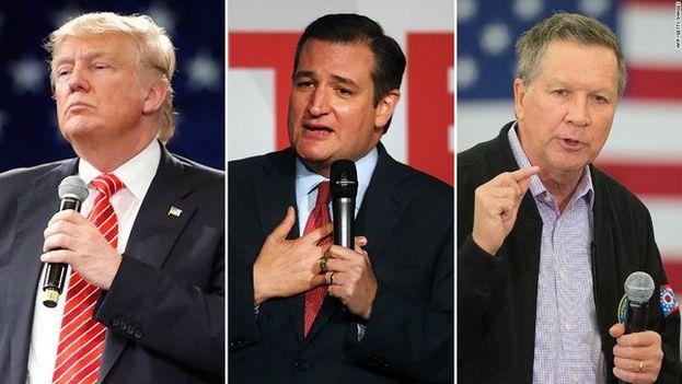 Donald Trump, Ted Cruz y John Kasich aspiran a ser el candidato a la presidencia por el partido republicano