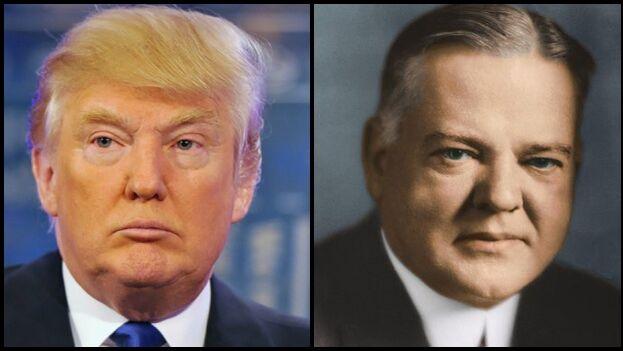 Donald Trump y Herbert Hoover, dos líderes que protagonizaron momentos históricos con muchas similitudes. (Collage)