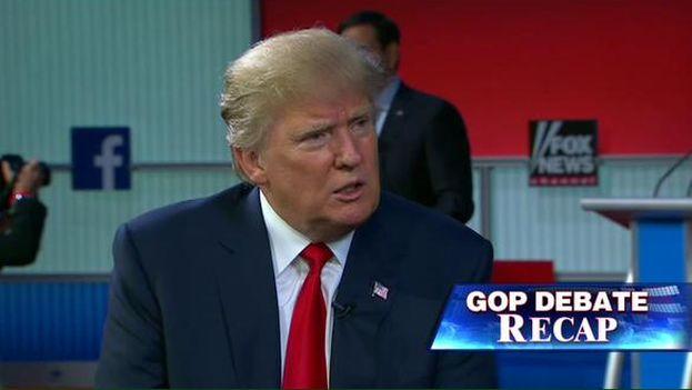 Donald Trump durante el primer debate entre los aspirantes a candidato del Partido Republicano a la presidencia. (@realDonaldTrump)