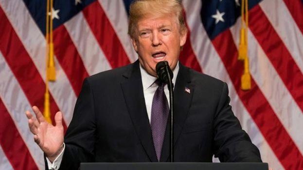 El presidente estadounidense, Donald Trump, habla sobre su estrategia de seguridad nacional en Washington DC. (EFE)