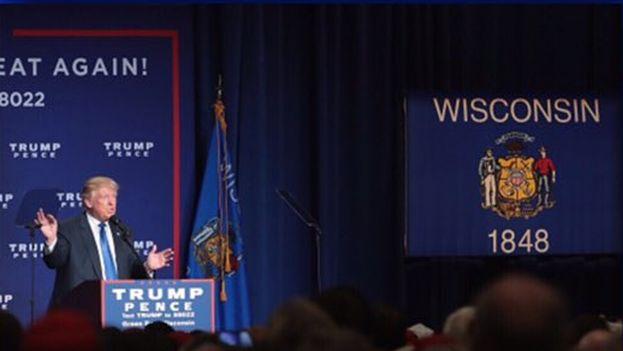 Donald Trump, candidato a la presidencia republicano, este lunes en Wisconsin. (@realDonaldTrump)