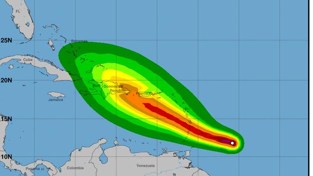 Cono de trayectoria de los vientos de la tormenta tropiacal Dorian, según el Centro Nacional de Huracanes de Miami. (Cortesía)