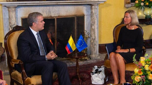 Iván Duque y Federica Mogherini conversaron sobre el apoyo europeo en migración y paz en Colombia. (@IvanDuque)