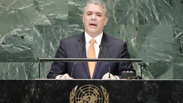 Iván Duque presentó un dossier de 128 páginas ante la ONU para demostrar los vínculos de la narcoguerrilla colombiana con Nicolás Maduro. (EFE)