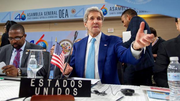 El secretario de Estado de EE UU, John Kerry, en la Asamblea general de la OEA. (@USAenEspanol)