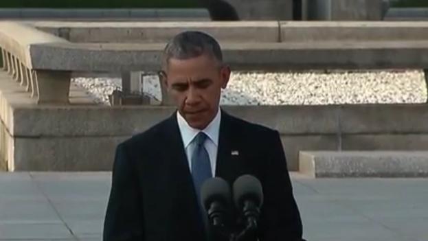 El presidente de EE UU, Barack Obama, este viernes en Hiroshima. (Captura de vídeo)