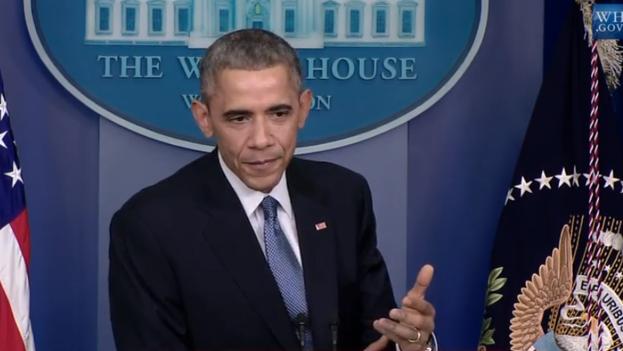 El presidente de EE UU, Barack Obama, durante la última rueda de prensa de 2014.