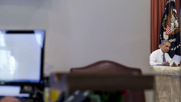 El presidente de EE UU, Barack Obama, preparando su discurso sobre el acuerdo nuclear con Irán el pasado agosto. (The White House/Peter Souza)