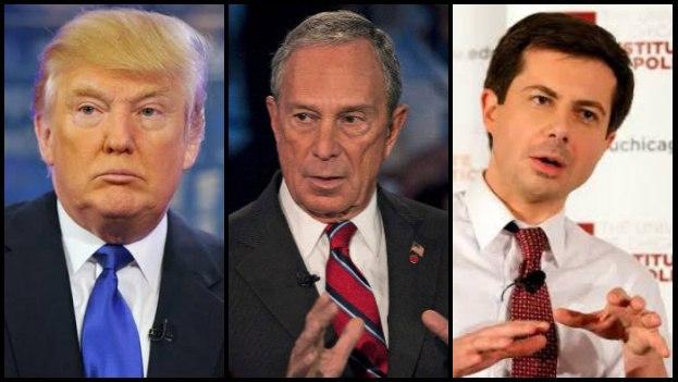 El presidente de EE UU, Donald Trump, junto a los precandidatos demócratas Mike Bloomberg y Pete Buttigieg. (14ymedio)