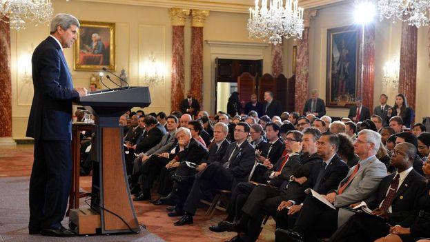 El secretario de Estado de EE UU, John Kerry, en un discurso ante el cuerpo diplomático. (Departamento de Estado de EE UU)