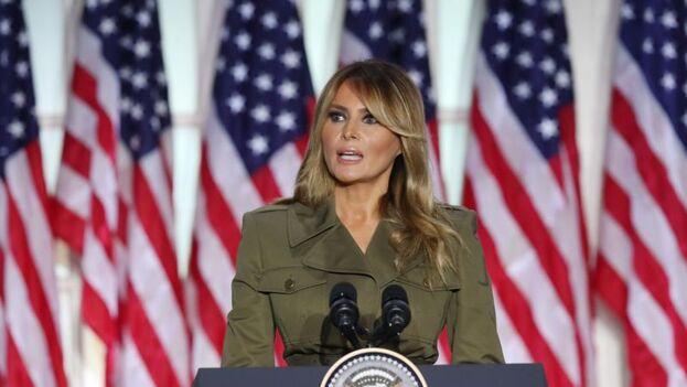 Melania Trump, primera dama de EE UU, este martes durante la convención del Partido Republicano. (EFE/EPA/Michael Reynolds)