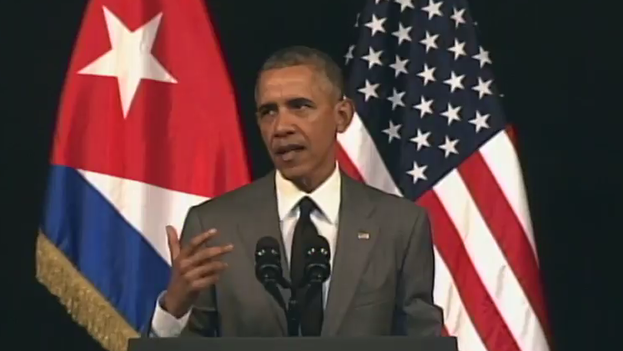 El presidente de EE UU, Barack Obama, en una intervención pública este martes desde el Gran Teatro de La Habana. (Fotograma)