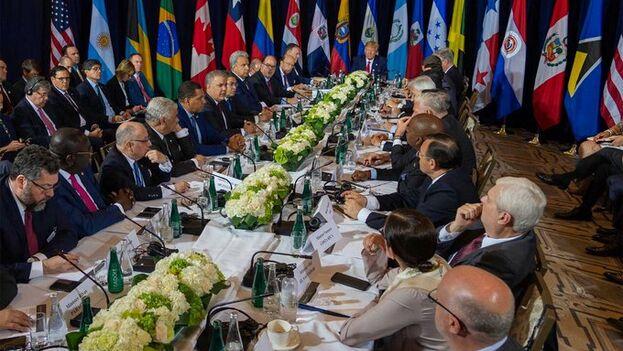 Los países americanos se reunieron ayer, a iniciativa de EE UU, para acordar las medidas a tomar contra el régimen venezolano. (Iván Duque)