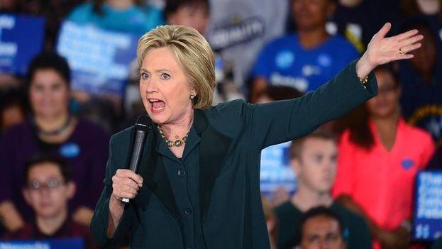 La ex secretaria de Estado de EE.UU. Hillary Clinton venció hoy al senador Bernie Sanders en los caucus demócratas de Nevada. (EFE)