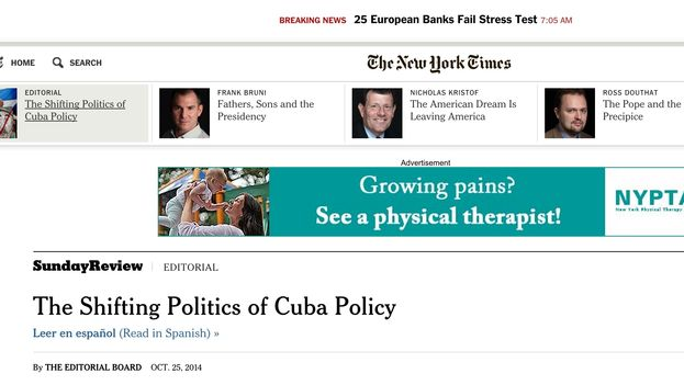 "Editorial ""Los cambios electorales respecto a Cuba"" en The New York Times"