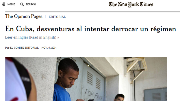"Editorial ""En Cuba, desventuras al intentar derrocar un régimem"" en 'The New York Times'."