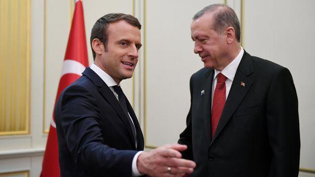 Emmanuel Macron y Recep Tayyip Erdogan. (EFE)