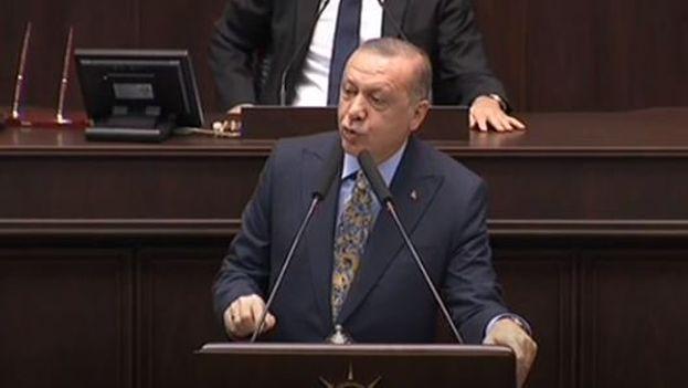 Erdogán ha hablado del caso de Khassoghi desde el parlamento de Ankara este martes. (Captura)