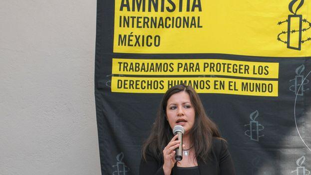 Erika Guevara en la presentación de un informe de Amnistía Internacional. (AI)