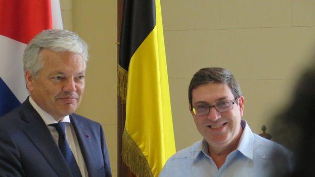 El ministro de Exteriores de Bélgica, Didier Reynders, con su homólogo cubano, Bruno Rodríguez. (@Belgium_Havana)