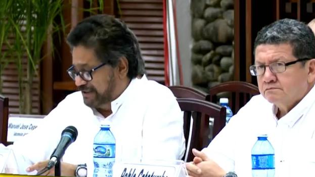 El jefe negociador de las FARC, Iván Márquez, este martes en La Habana. (Fotograma/Presidencia de Colombia)