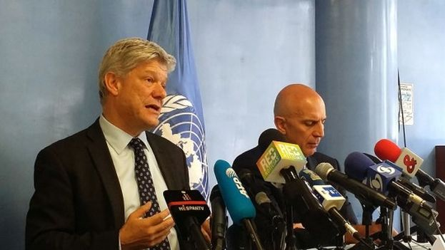 Fabrizio Hochschild habla con la prensa el día de la presentación del informa sobre la paz en Colombia. (Andres Bernal / PNUD)