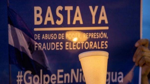 Foto ilustrativa de una pancarta en las manifestaciones contra Ortega. (EFE)