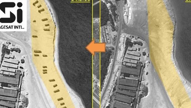 Fotografías de las playas de la Isla de Woody que, según la Fox, prueban la instalación de misiles por parte de China. (ImageSat International)