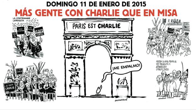 Fragmento del una viñeta traducida al español del primer 'Charlie Hebdo' posterior al ataque. (Charlie Hebdo/El País)