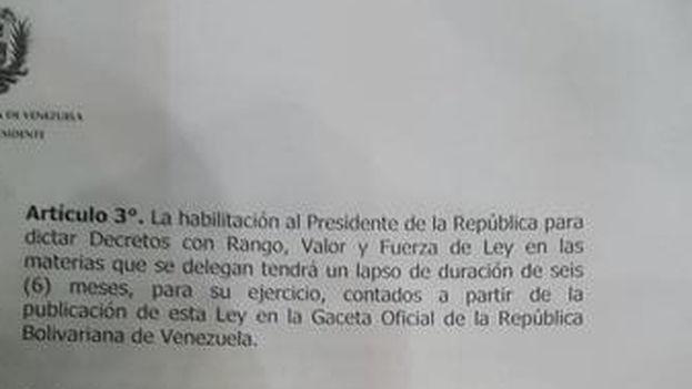 Fragmento de la ley habilitante publicado por el diputado Julio Montoya en su cuenta de Twitter