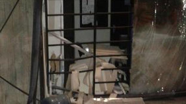 Fragmento de la imagen publicada por Muchacho en la que se muestra el estado de la sede tras la explosión. (@ramonmuchacho)