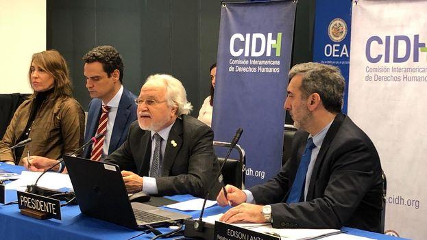 Francisco Eguiguren, presidente de la CIDH, durante la presentación este lunes del informe sobre Venezuela. (@CIDH)