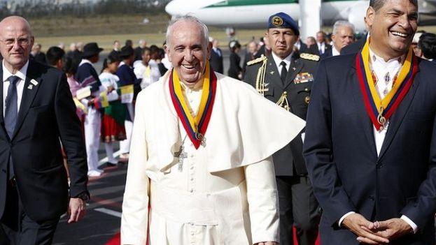 El papa Francisco este domingo en Quito. (Christian Torres/Presidencia de Ecuador)