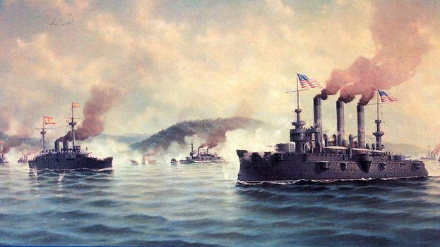 Fresco que recoge la batalla naval que terminó con el dominio español sobre Cuba. (Twitter)