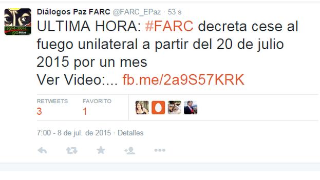 El tuit de las Fuerzas Armadas Revolucionarias de Colombia anunciado el alto el fuego.