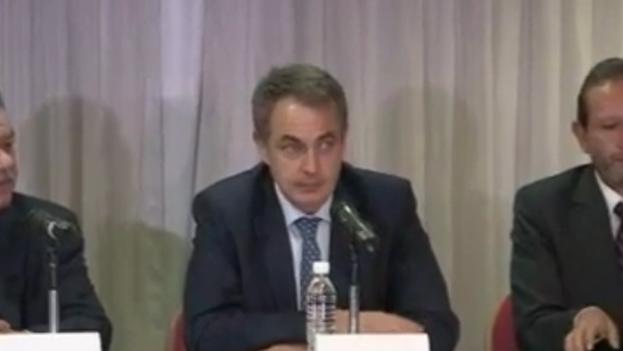 La rueda de prensa del expresidente del Gobierno español, Jose Luis Rodríguez Zapatero. (Fotograma)