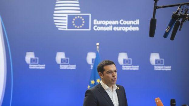 El primer ministro de Grecia, Alexis Tsipras, en el Consejo Europeo.(@atsipras)