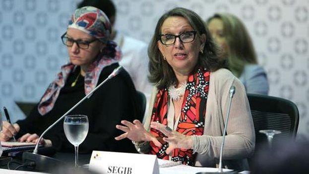 Rebeca Grynspan, secretaria general iberoamericana, este viernes en Cartagena (Colombia). (EFE/Mauricio Dueñas Castañeda)